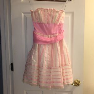 Betsey Johnson Pink/White Striped Strapless Dress